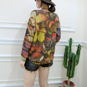 winter new alphabet butterfly print sweater oversize casual batwing sleeve knit tops
