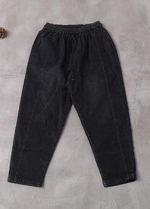 winter new denim black loose pants drawstring thick women trousers