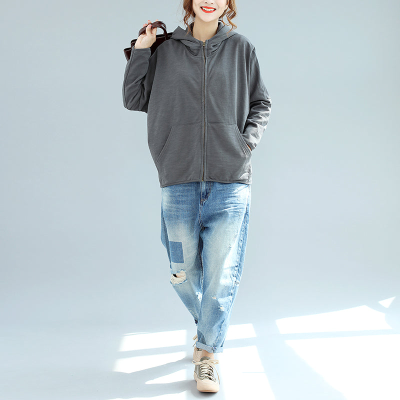 winter new gray zippered cotton coats hooded plus size casual short outwear