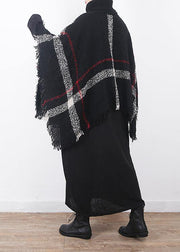 winter original design plaid high neck knit tops oversize black tassel cloak