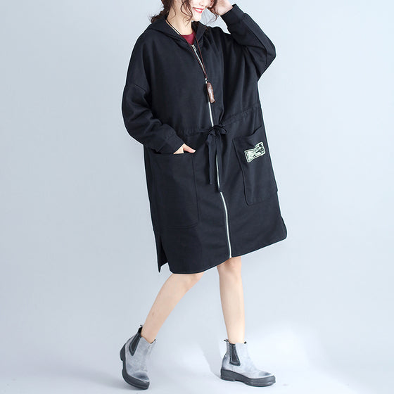 winter plus size women cotton cardigans black hooded prints zippered warm trench coats