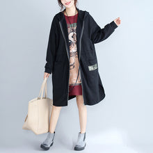 Load image into Gallery viewer, winter plus size women cotton cardigans black hooded prints zippered warm trench coats