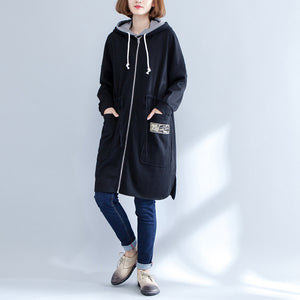 winter prints cotton sport cardigans oversize casual side open coat
