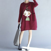 winter red thick prints cotton dresses plus size long sleeve shift dress
