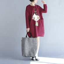 Load image into Gallery viewer, winter red thick prints cotton dresses plus size long sleeve shift dress