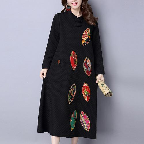 winter thick black cotton embroidery dresses oversize vintage maxi dress