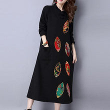 Load image into Gallery viewer, winter thick black cotton embroidery dresses oversize vintage maxi dress