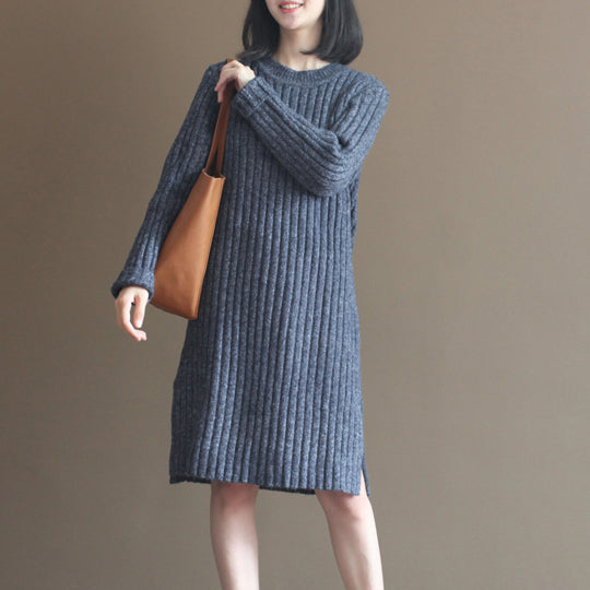 winter thick gray blue cotton knit casual dresses striped sweater dress