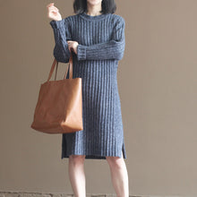 Load image into Gallery viewer, winter thick gray blue cotton knit casual dresses striped sweater dress