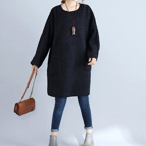 winter thick warm black corduroy dresses plus size casual long sleeve sweater dress