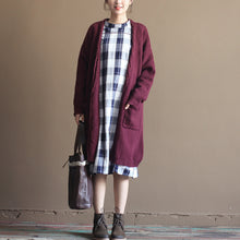 Load image into Gallery viewer, winter vintage cotton blended sweater cardigans burgundy oversize pockets wrap knit coat