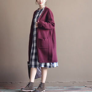 winter vintage cotton blended sweater cardigans burgundy oversize pockets wrap knit coat