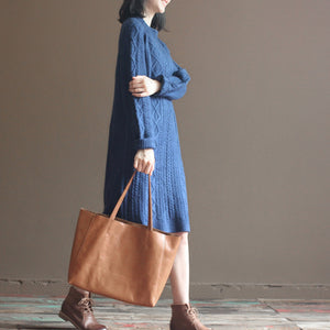 winter vintage dark blue cotton sweater dresses plus size cable knit casual dress