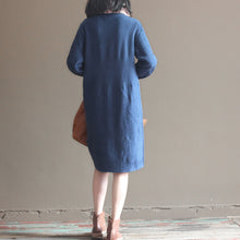 Load image into Gallery viewer, winter vintage dark blue cotton sweater dresses plus size cable knit casual dress