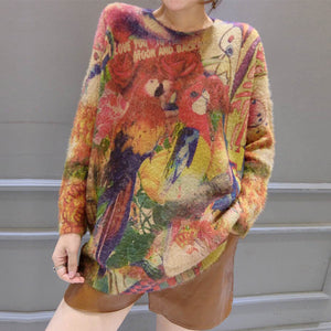 winter vintage woolen knit tops oversize casual women wild cozy sweater