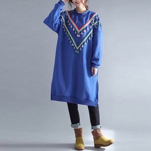 winter warm blue cotton fashion dresses plus size tassel decorated traveling dress