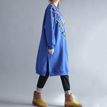 Load image into Gallery viewer, winter warm blue cotton fashion dresses plus size tassel decorated traveling dress