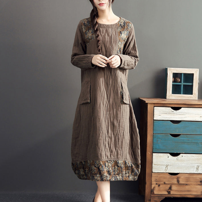 winter warm khaki prints patchwork cotton dresses linen plus size casual long sleeve thick dress