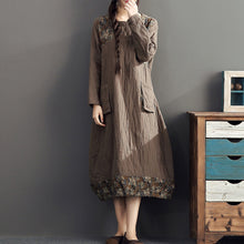 Load image into Gallery viewer, winter warm khaki prints patchwork cotton dresses linen plus size casual long sleeve thick dress
