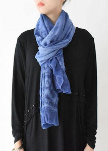 winter women embroidery cotton blended scarf rectangular blue big scarves
