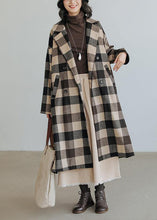 Load image into Gallery viewer, women Loose fitting medium length coat Plaid pockets Notched Woolen Coats
