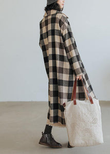 women Loose fitting medium length coat Plaid pockets Notched Woolen Coats