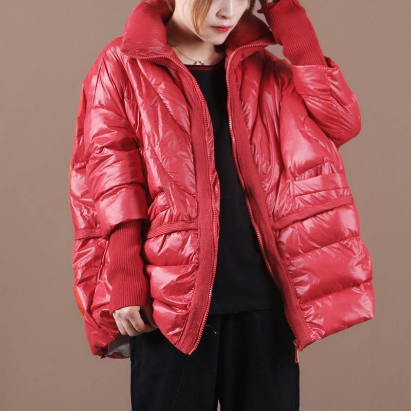 women Loose fitting snow jackets coats red stand collar patchwork down coat winter