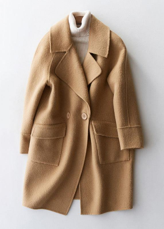 women Loose fitting winter jackets big pockets women coats beige wool coat