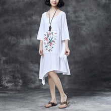 Load image into Gallery viewer, women Midi-length cotton dress trendy plus size Loose Round Neck Embroidered Irregular Cotton Dress
