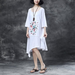 women Midi-length cotton dress trendy plus size Loose Round Neck Embroidered Irregular Cotton Dress