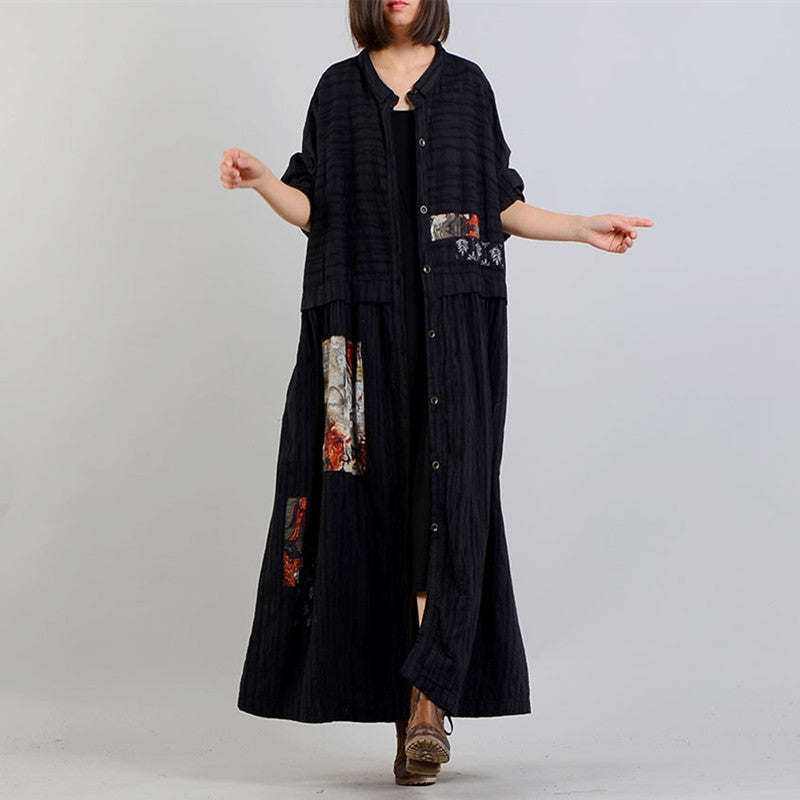 women black Coat oversize stand collar baggy Winter coat Fashion patchwork jackets