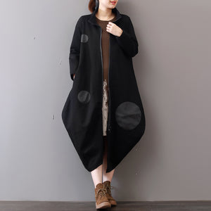 women black Coats plus size clothing zippered Winter coat Elegant lapel collar maxi coat