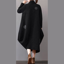 Load image into Gallery viewer, women black Coats plus size clothing zippered Winter coat Elegant lapel collar maxi coat
