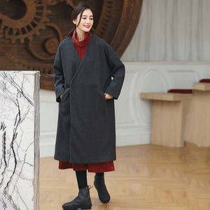 women black Coats trendy plus size V neck outwear vintage baggy pockets wool jackets