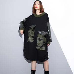 women black Loose fitting fall dresses patchwork top quality O neck cotton dress