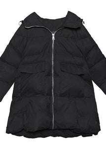 women black Parkas for women oversized snow jackets big pockets hooded winter coats