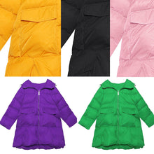 Load image into Gallery viewer, women black Parkas for women oversized snow jackets big pockets hooded winter coats