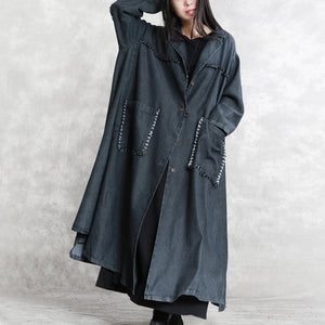 women black Winter coat oversized Notched pockets Elegant long sleeve denim patchwork long coats