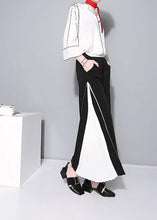 Load image into Gallery viewer, women black chiffon patchwork pants loose casual wide leg pants