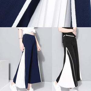 women black chiffon patchwork pants loose casual wide leg pants