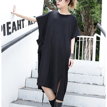 Afbeelding in Gallery-weergave laden, women black cotton dress plus size clothing big pockets cotton gown Elegant side open kaftans