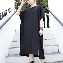 Load image into Gallery viewer, women black cotton dress plus size clothing big pockets cotton gown Elegant side open kaftans