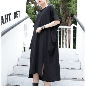 women black cotton dress plus size clothing big pockets cotton gown Elegant side open kaftans