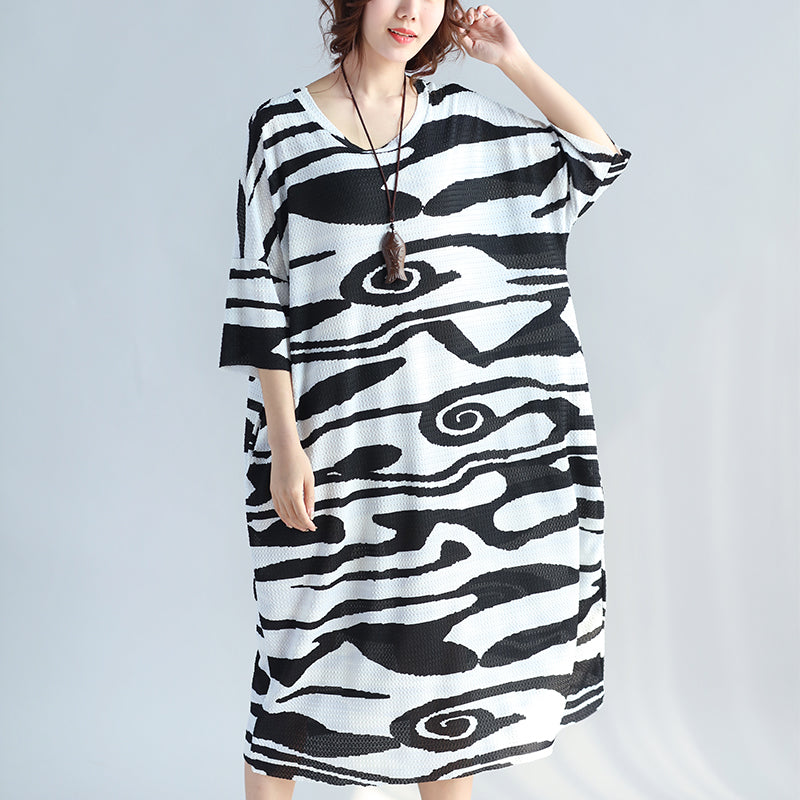 women black cotton knee dress trendy plus size casual dress New short sleeve asymmetric striped cotton dresses