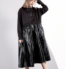 Load image into Gallery viewer, women black fall oversized traveling clothing drawstring Elegant hooded patchwork dresses