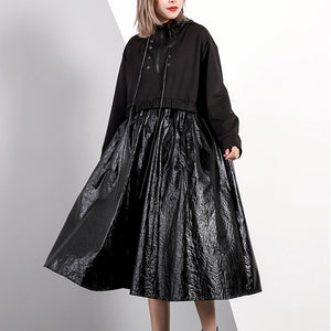 women black fall oversized traveling clothing drawstring Elegant hooded patchwork dresses