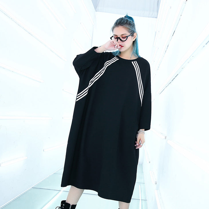 women black knee plus size traveling dress Batwing Sleeve baggy dresses top quality O neck cotton dresses