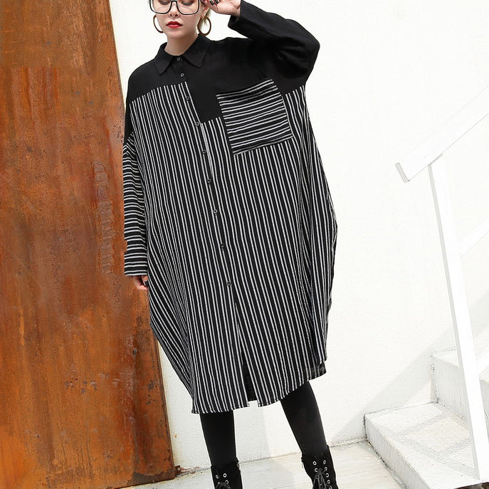0f2bc8cd14a ... women black linen dresses Loose fitting linen clothing dresses top  quality patchwork striped cotton clothing ...