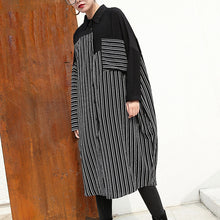Afbeelding in Gallery-weergave laden, women black linen dresses Loose fitting linen clothing dresses fine patchwork striped cotton clothing