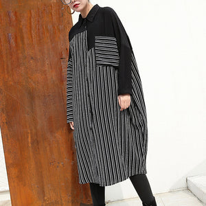 women black linen dresses Loose fitting linen clothing dresses top quality patchwork striped cotton clothing